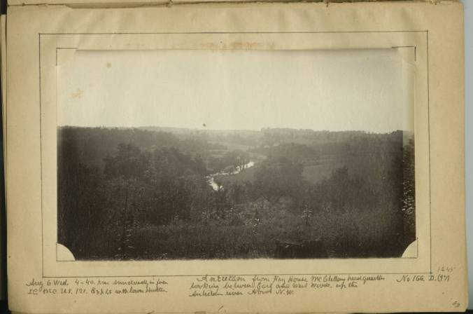 Antietam_from_Fry_sic_House_McClellan_headquarters_looking_between_East_and_West_woods_up_the_Antietam_river_about_NW